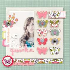 Me & My Quirks Layout by Elizabeth Kartchner (made with the Dear Lizzy Enchanted line)
