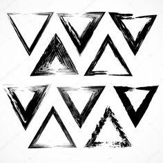Скачать - Векторный набор мазки кисти гранж треугольник — стоковая иллюстрация #26407167