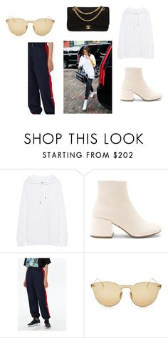 """Bella hadid Inspired Outfit"" by carolinecorradine on Polyvore featuring Acne Studios, MM6 Maison Margiela, Heron Preston, Illesteva, Chanel and bellahadid"