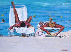 Fine Art Print 8x10 Beach Lounging Couple Original by GwenMeyerson, $20.00