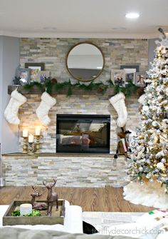 stacked stone fireplace in bay window bump out