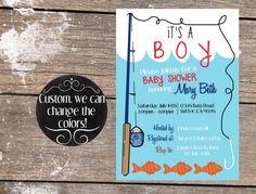 Custom Fishing Baby Shower Invitation DIY PDF By BlueOakCreations, $10.00