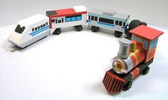 牛乳パック工作 つながる電車