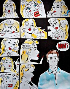 """By: Irina Bast. """"The Unbearable Lightness of Being"""" 1.23.17. """"When all you did was ask her how her day went."""" I find this piece hilarious because of the way the man is confused and the women is just saying yes or no like he did something but he doesn't know what he did. This piece represents the view that men have about women when they just go on and on about different things, and I find it funny."""