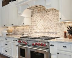Image result for white brick backsplash