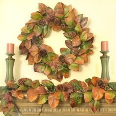 Designer Magnolia Wreath and Garland Set WR1518 #Christmaswreath #Christmaswreaths