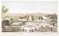 A Prospect of St James's Park: 18th century, by Robert Sayer, 1741-1760.  Museum of London.   View of St James's Park from Buckingham House, looking down the Mall, with the canal to the right and a formal garden with a pool and fountain in the foreground.The river Thames, St. Paul's Cathedral and numerous church spires are visible in the distance, as are the distant hills.
