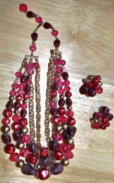 Vtg 50s Pink Gold Multi 5 Strand Beaded Necklace Cluster Earring Set W Germany
