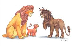 """""""Daddy, why is that lion so spiky?"""" """"You can call me Sora."""" This goes for =Simbaraion, he bought me a subby last autumn Here'. Reunion -for Simbaraion Kingdom Hearts Worlds, Anime Lion, Lion King Fan Art, Le Roi Lion, Heart Pictures, Disney Memes, Cool Drawings, Lions, Lion Sculpture"""