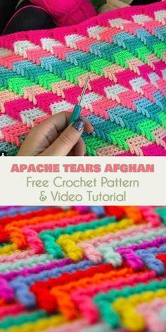 Apache Tears Afghan [Free Crochet Pattern and Video Tutorial] Wonderfully finished, charming and interesting! I'm writing about the strikingly hypnotizing Apache Tears crochet design. It's not complicated, so let's start on it right away! Crochet Afghans, Crochet Stitches Patterns, Tunisian Crochet, Crochet Designs, Blanket Crochet, Crochet Cushions, Crochet Blocks, Crochet Pillow, Crochet Granny