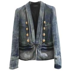 Pre-owned Balmain Blue Denim - Jeans Jacket ($521) ❤ liked on Polyvore featuring outerwear, jackets, blue, women clothing jackets, short-sleeve blazers, balmain blazer, denim blazer jacket, denim military jacket and native american jackets