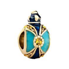 Charms Beads - crown sapphire blue light topaz crystal faberge egg bead charms Image.