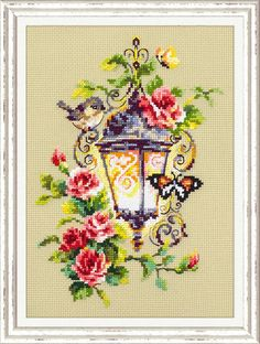 """Cross stitch embroidery kit by Russian manufacture Magic Needle """"Light of inspiration"""" Size of the picture: 17 х 23 cm * The kit contains: - cotton fabric Aida 14 ct - cotton threads Gamma - 31 colors - needle - color guide - stitching guide - pattern Cross Stitch Rose, Modern Cross Stitch, Cross Stitch Flowers, Cross Stitch Designs, Cross Stitch Patterns, Cross Stitch Embroidery, Embroidery Patterns, Hand Embroidery, Serviettes Roses"""