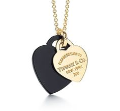 Tiffany & Co. | Item | Return to Tiffany™ small double heart tag pendant in 18k gold and black onyx. | United States