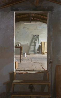 "Peter Van Dyck, 'Garage Attic', Oil on linen 42""x28"""
