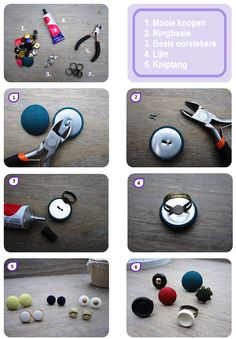 DIY Tutorial - Make your own rings from ( fabric ) buttons