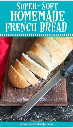 Soft french bread is easy to make at home. This crusty on the outside, soft on the inside loaf of homemade bread is perfect for garlic bread, sandwiches, and all of your other white bread favorites. We love it!