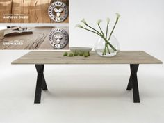 Altes Recyceltes Holz Wird Zum Filigranen Esstisch Pavona Mit  X Stahlgestell. Die 4 Cm