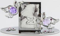 Bilderrahmen mit 2 Hochzeitstauben MADE WITH SWAROVSKI ELEMENTS - premium-kristall