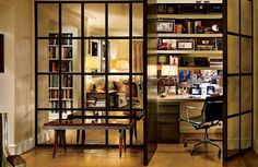Peter Dunhams clever use of large mirror doors that conceal a workspace!