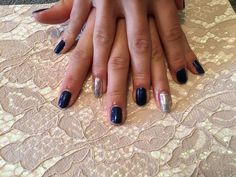 Silver and blue gel manicure nails