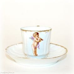 #Antique 1870 #French #Limoges Porcelain Miniature Demitasse with Cherub. #frenchgardenhousestyle