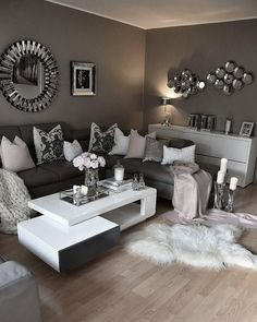home decor apartment living room likes, 91 comments - interior by zeynep ( on Ins Living Room Decor Cozy, Home Living Room, Apartment Living, Living Room Designs, Decor Room, Apartment Ideas, Mirror Decor Living Room, Silver Living Room, Bedroom Decor