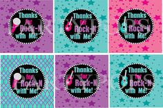 RockStar Party, Thank You,  Favor Tag,  Rock Star Birthday, Tween Party, Rock Star Printable, Guitar, purple, pink,  PDF,  INSTANT DOWNLOAD