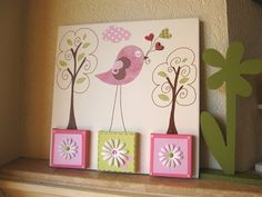 Unique Nursery Art Bird Canvas Kids Room Painting  by GalerieAnais, $68.00