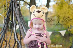 Handmade Crochet Honey Bear Hat for Babies, Kids, Teens and Adults www.irarott.com