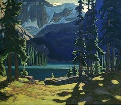 Image detail for -Morning, Lake O'Hara -- painting by J.E.H. MacDonald | This reminds me so much of Grinell Lake, Glacier Natl Park, where we were charged by a moose...twice. -RW