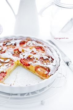 marzipan tart with plums.