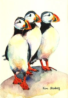 """Puffin Painting Original Watercolor """"Proud Puffins"""" by KimStenbergFineArt on Etsy, $80.00"""