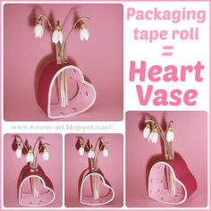 Packaging Tape Roll = Heart Vase