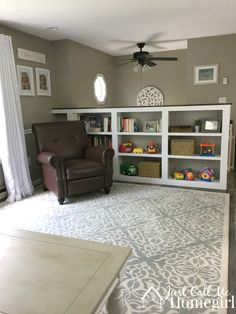 Bookcase instead of a railing in a raised ranch/split entry.