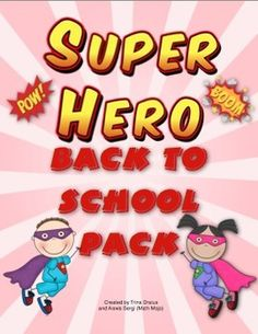 Super Hero Theme Back to School Pack - Up, up , and away into an awesome school year! This pack is loaded with super hero classroom decorations, open house activites, first week of school activies, and a super hero themed behavior chart. WOW! $