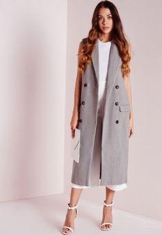 Double Breasted Sleeveless Wool Maxi Coat Grey