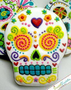 Sugar skull Dia De Las Muerdas rainbow cookies,
