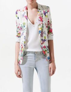 White Casual Collarless Long Sleeve Floral Single Button Suits