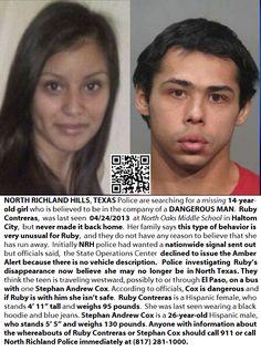 5/2/13-HAPPY UPDATE: Ruby Contreras was located safe & Stephen Cox was arrested :) Hallelujah!