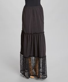 Another great find on #zulily! Black Lace Tier Maxi Skirt by Funky People #zulilyfinds
