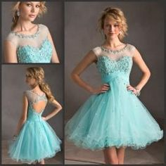 Wholesale Backless Homecoming Dresses with Cap Sleeves Sheer Neck Keyhole Light Sky Blue Cheap Princess Short/Mini Party Dresses with Beaded Appliques, Free shipping, $83.77/Piece | DHgate Mobile