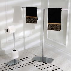 - love this matched set of clean line, Chrome towel holder, and toilet paper holder, also great that the toilet paper holder has space for extra rolls