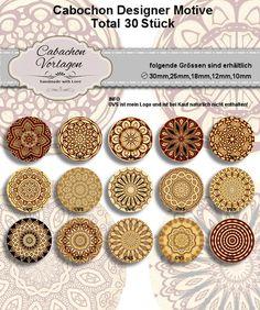 Digitale Downloads - 4 Grössen Cabochon Vorlagen Kreis Download CA251 - ein Designerstück von Vintage-Styler bei DaWanda