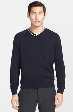Armani+Collezioni+Tipped+Cotton+V-Neck+Sweater+available+at+#Nordstrom