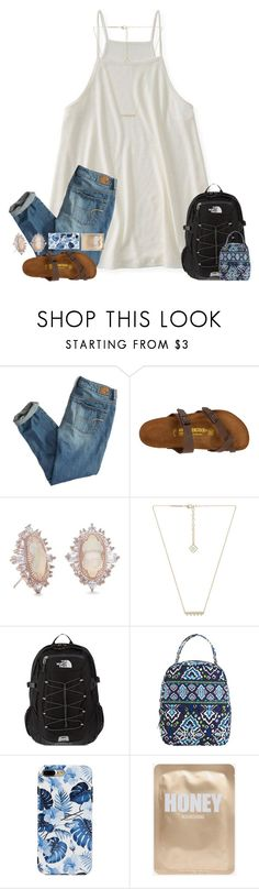 """""""When your bestfirend gets a tardy on the first day of school because she was talking to a guy"""" by erinleigh02 ❤ liked on Polyvore featuring Aéropostale, American Eagle Outfitters, Birkenstock, Kendra Scott, The North Face and Vera Bradley"""
