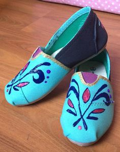 Frozen Elsa Coronation Inspired Custom Painted Shoes for kids and adults $34