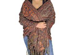 "Wool Scarf - Beaded Orange Kashmir Woven Floral Ladies Fashion Wrap 80"""