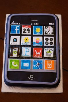 Groom's iPhone cake by http://sugarrushconfections.com