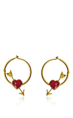 Fire Opal Cupid's Hoops by MARIE-HéLèNE DE TAILLAC for Preorder on Moda Operandi
